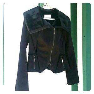 Michael Kors black suede faux fur jacket