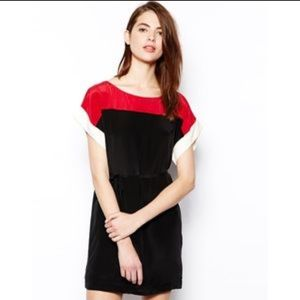 French Connection 100% Silk Colorblock Shift Dress