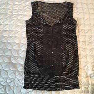 Chic black & white polka dot Blouse w/ lace front