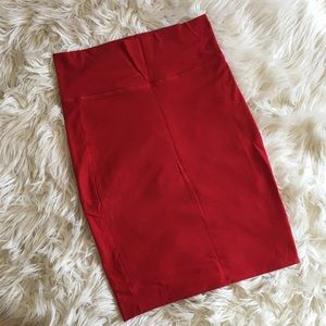 Red Cotton Pencil Skirt