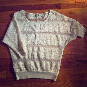 Forever 21 3/4 sleeve lace sweater