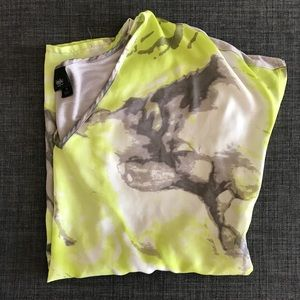 Mossimo Green/Gray abstract print top, Size M