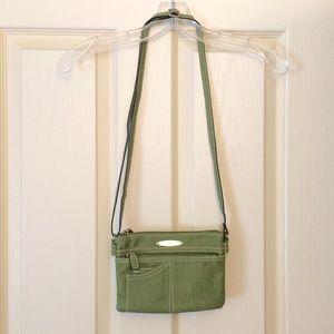 Olive green Rosetti multi-pocket cross-body purse