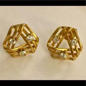 Vintage gold cz stud earrings vermeil