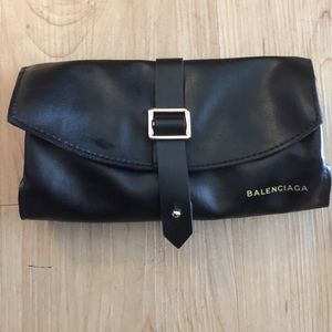 Balenciaga black faux leather sunglasses case new