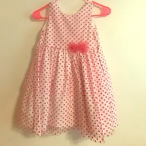 Little Girls white dress with polka dots small