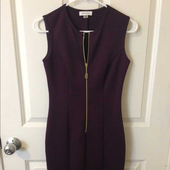 lowest discount wide range factory outlet Deep Purple Calvin Klein Dress with Gold Zipper