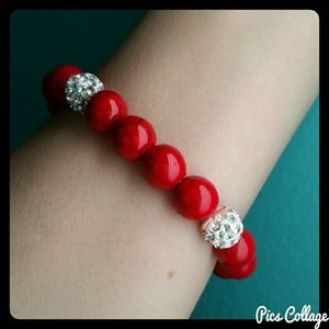 Red Turquoise Pave Crystal Stretch Bracelets