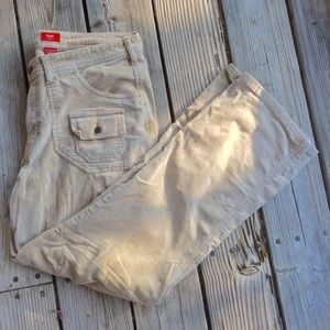 Natural Wheat Color Cargo Corduroy Fall Pants 16