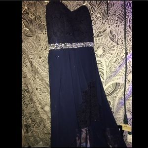 Navy blue lace homecoming, winter formal, prom