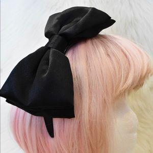 Black Satin Headband w/Oversized Bow
