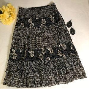 Sophie Max floral midi peasant boho skirt
