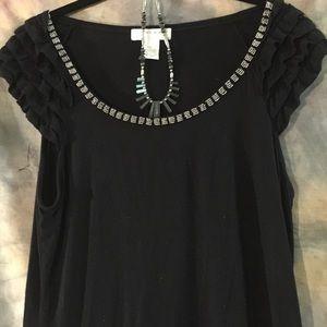 KENAR metallic and ruffle Embellished tunic blouse