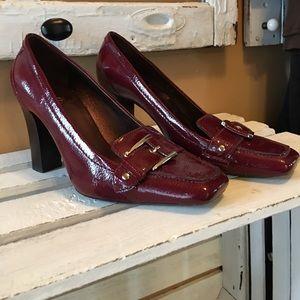 Cole Haan buckle cranberry heels