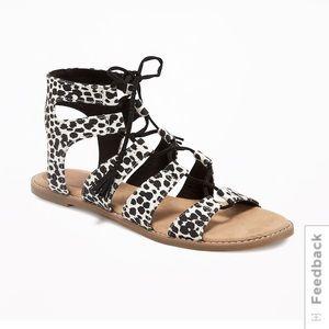 Old Navy Black White Animal Print Gladiator Sandal