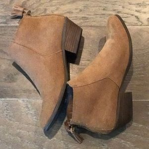 Apri Tan Suede Zip Back Booties US 8