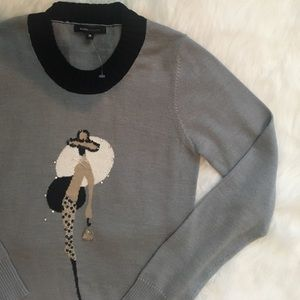 NWOT Gray Embellished Chic Lady Sweater