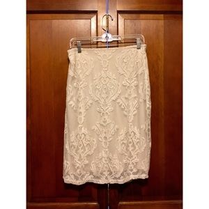 🎀 Long white cream lace pencil skirt high waisted