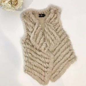 Metric Knits Knitted Fur Drape Vest