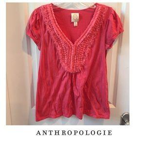 Anthropologie Ric Rac Pink Ruffle Top