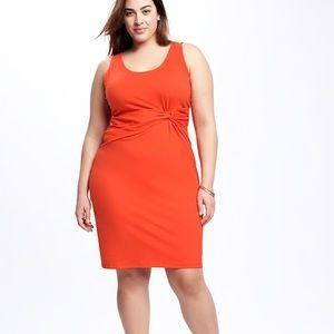 Old Navy Twist Front Body Con Dress Burnt Orange