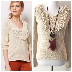 Creme Pom Pom Trimmed Angel of the North Sweater