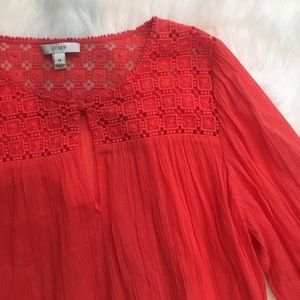 Long Sleeved Flouncy Crochet Coral Top