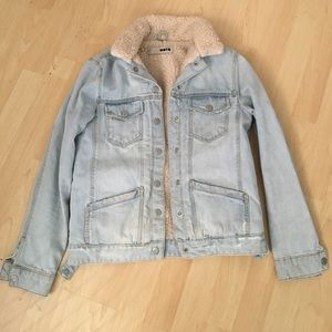 Topshop Denim Shearling Jakcet