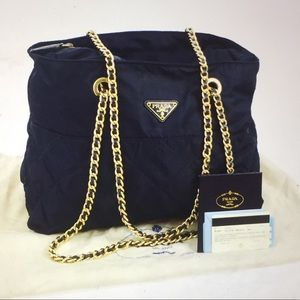 🆕 Prada Milano Logo Quilted Chain shoulder Bag
