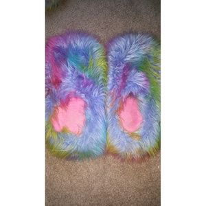 Shoes - Fluffy Rainbow Slippers