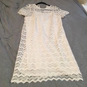 White slip dress with lace detail