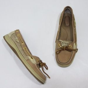 Sperry Boat Shoes Gold Glitter Accent Flats *S63