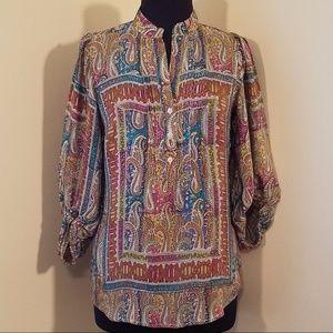 Tolani Multi-color Paisley Silk Blouse, Medium