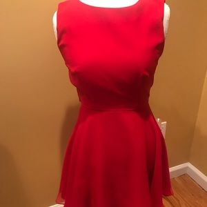 Red cocktail fit and flare dress