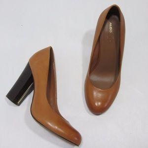 Aldo Caramel Round Toe Chunky Heel Pumps *S60