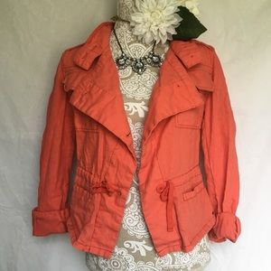Maurice's // Coral Linen Anorak Jacket
