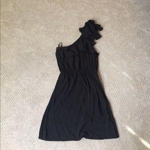 Black ruffled one shoulder dress