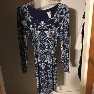 Blue printed jersey dress
