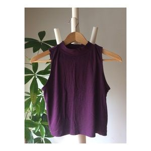 H&M DEEP PURPLE SLEEVELESS MOCK NECK CROP TOP M