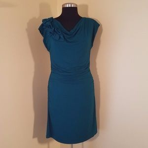 Dark Turquoise Sleeveless Rushed Dress, Small
