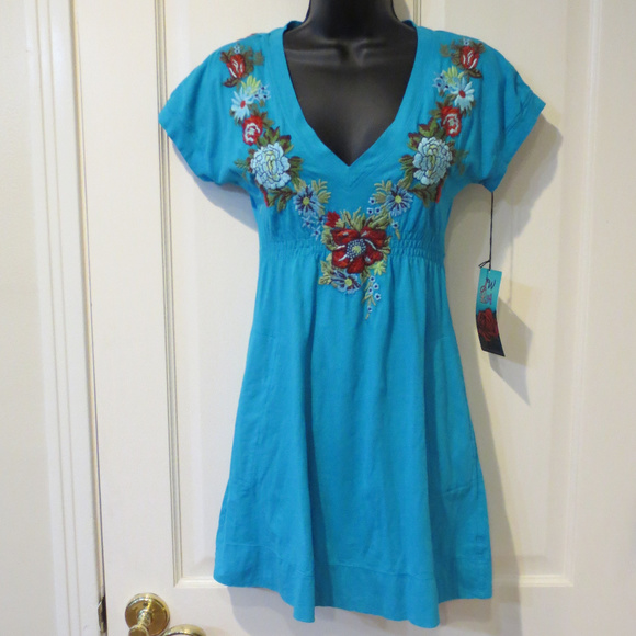 3a593bb13 Johnny Was Tops | Jwla Embroider Dress Tunic Top Teal Xs | Poshmark