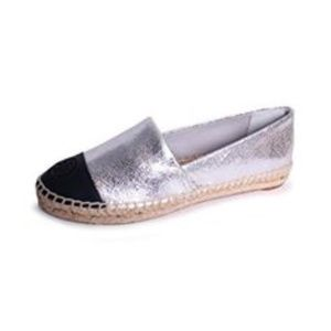 Tory Burch Color Block A-Line Silver Espadrille