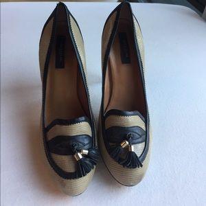 Ann Taylor Tassel Heel, Black piping Gold detail