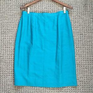 Vintage teal silk pencil skirt