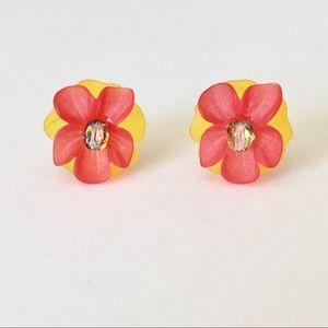 Jewelry - Red Orange & Yellow Orchid Stud Earrings
