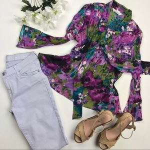 Allison Taylor floral long sleeve blouse L (UEC)