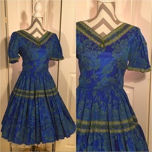 Vintage Blue and green dress Size small