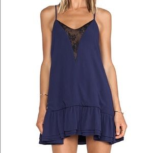 Lovers + Friends • Navy Lace Inset Ruffle Dress
