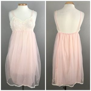 Vintage Pretty Baby Pink Lace Flowy Nightgown