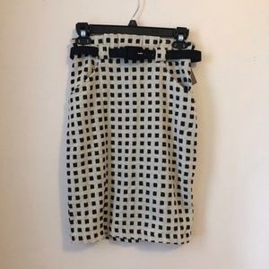 NWT Eva Franco High Waisted Checked Belted Skirt 0